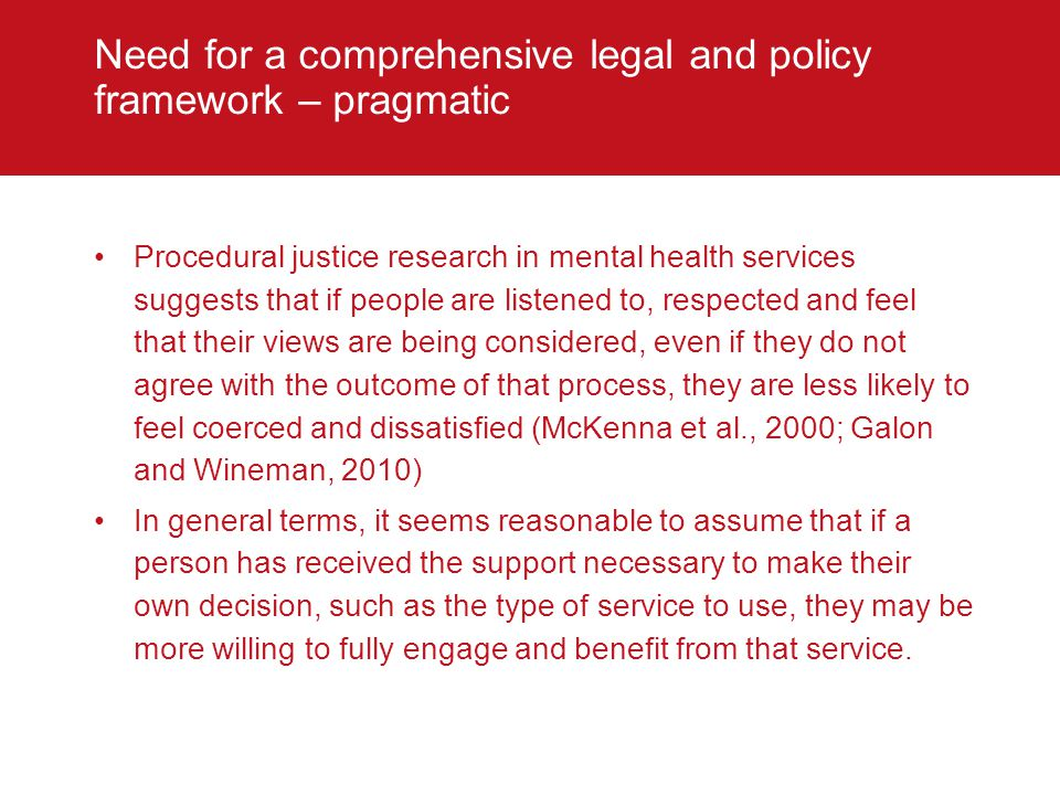 Need for a comprehensive legal and policy framework – pragmatic