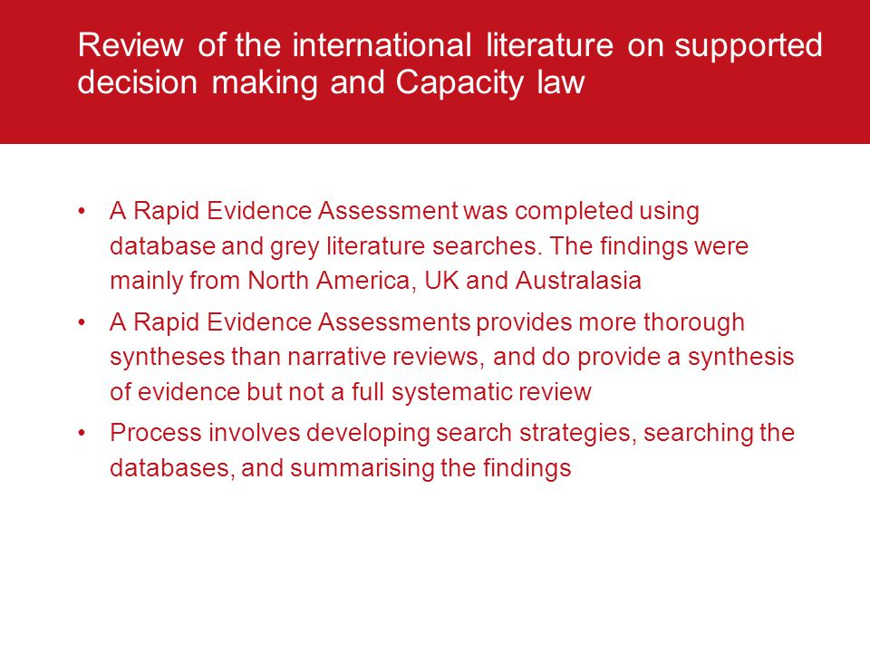Review of the international literature on supported decision making and Capacity law