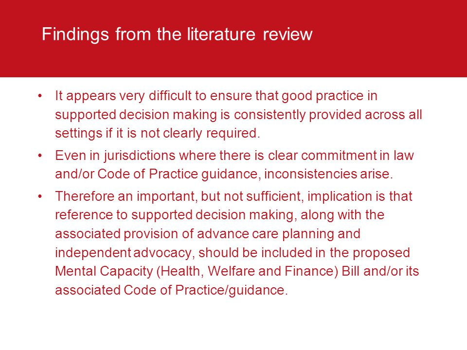Findings from the literature review