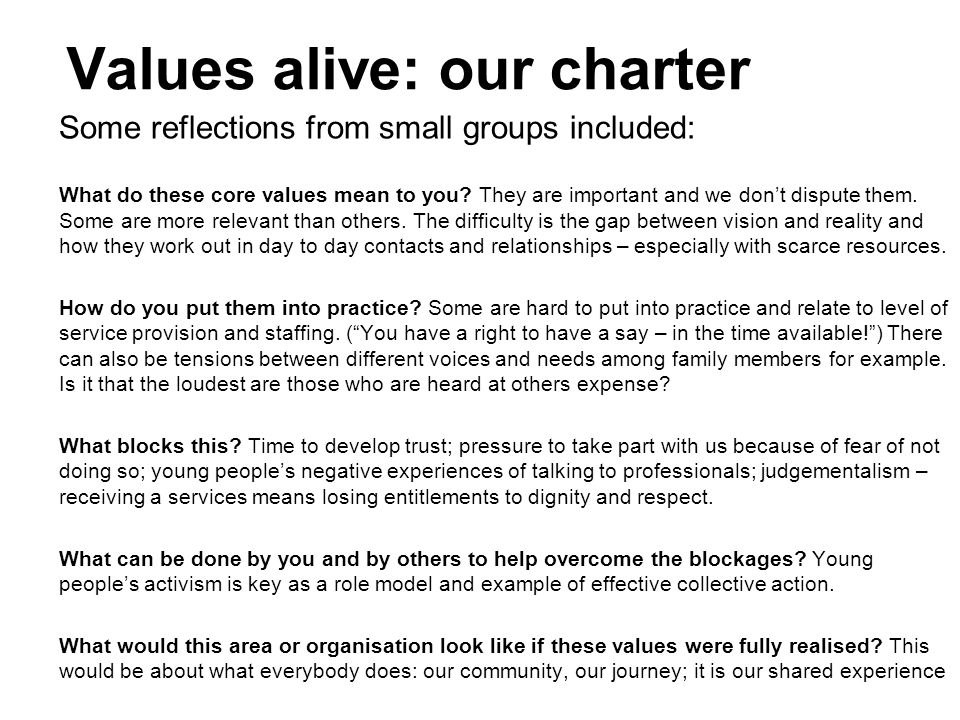 Values alive: our charter