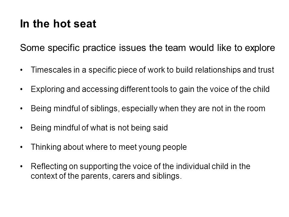 In the hot seat Some specific practice issues the team would like to explore.