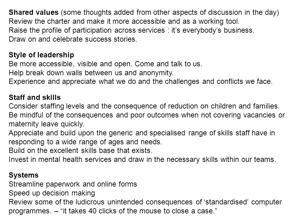 Shared values (some thoughts added from other aspects of discussion in the day)