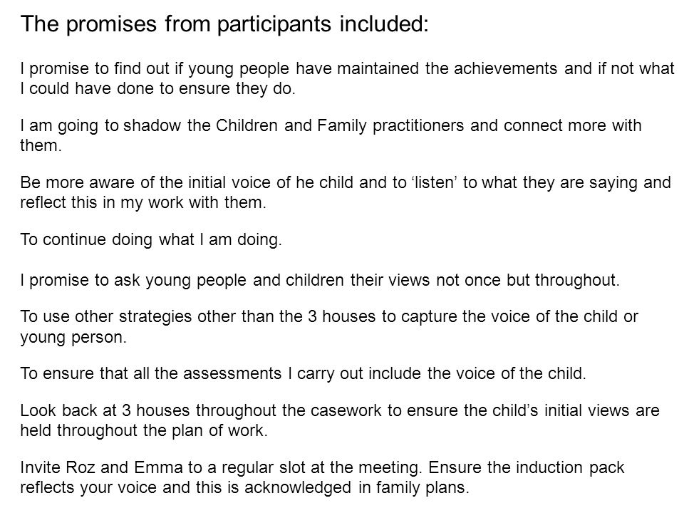 The promises from participants included: