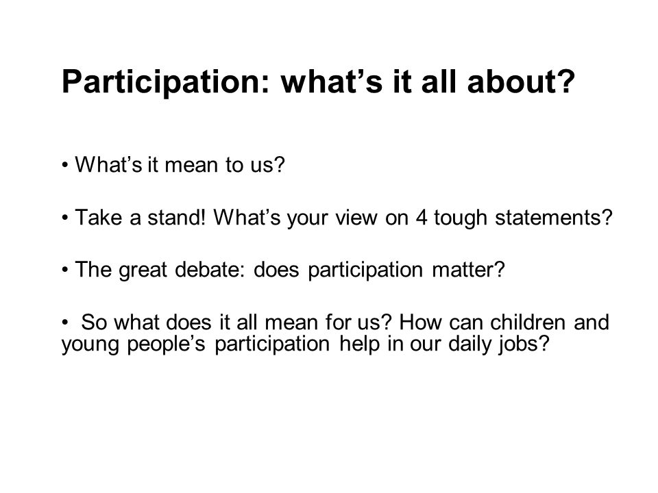 Participation: what's it all about