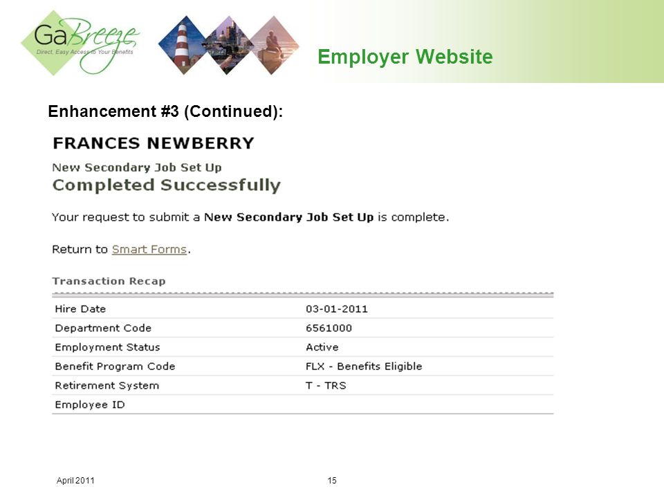 Employer Website Enhancement #3 (Continued):