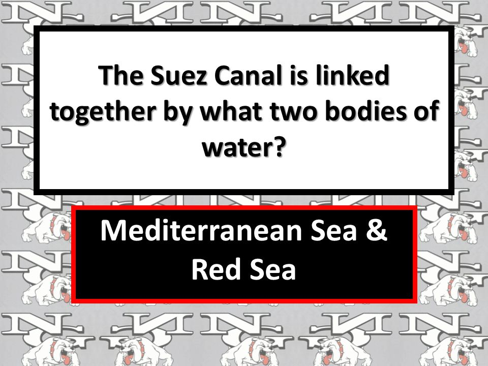 The Suez Canal is linked together by what two bodies of water