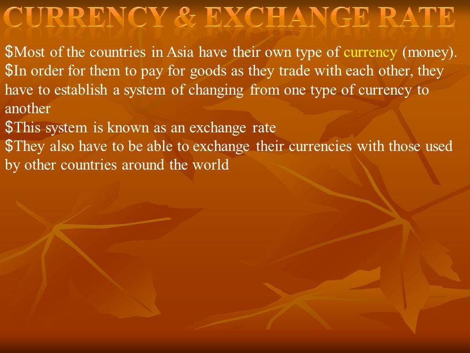 Currency & Exchange Rate