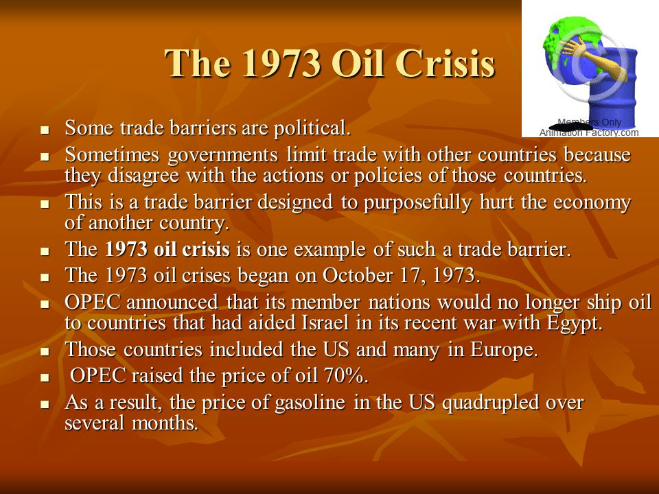 The 1973 Oil Crisis Some trade barriers are political.