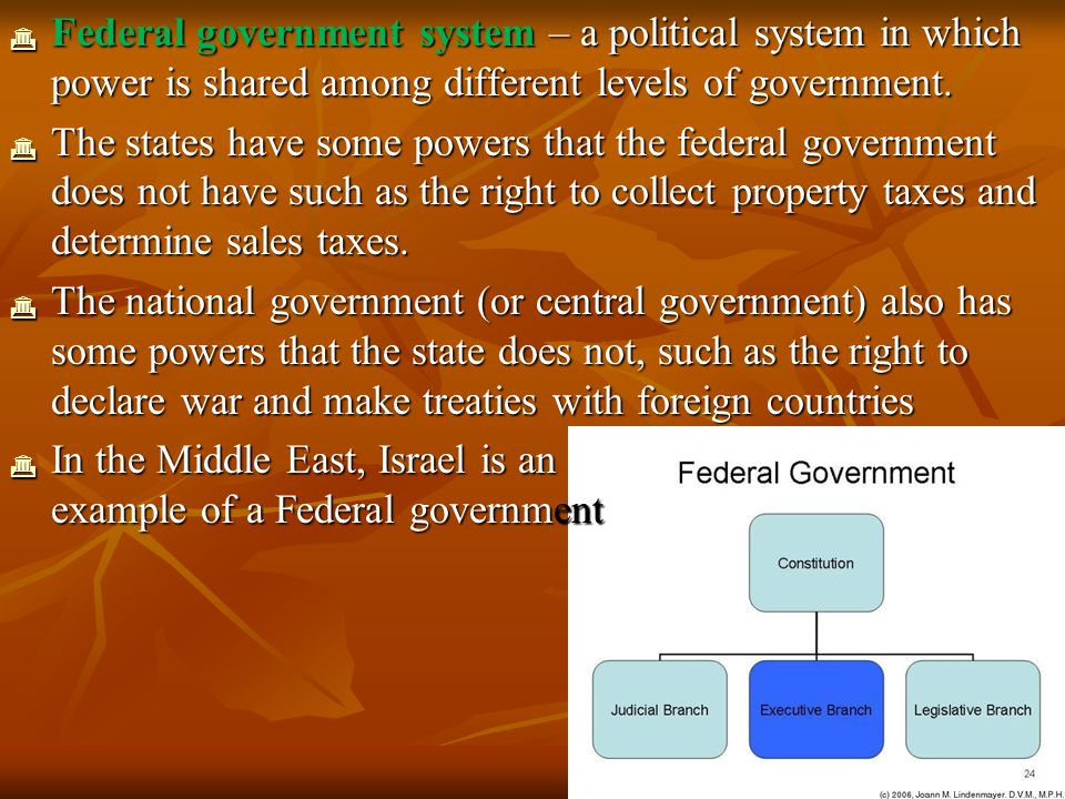 Federal government system – a political system in which power is shared among different levels of government.