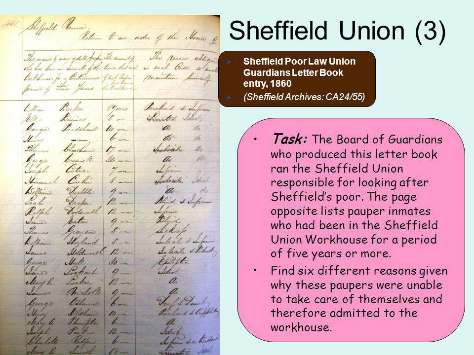 Sheffield Union (3) Sheffield Poor Law Union Guardians Letter Book entry, 1860. (Sheffield Archives: CA24/55)