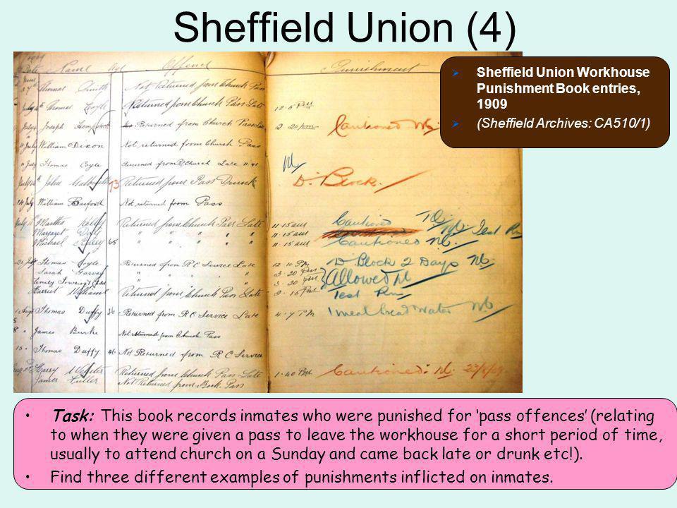 Sheffield Union (4) Sheffield Union Workhouse Punishment Book entries, 1909. (Sheffield Archives: CA510/1)