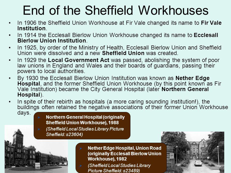 End of the Sheffield Workhouses