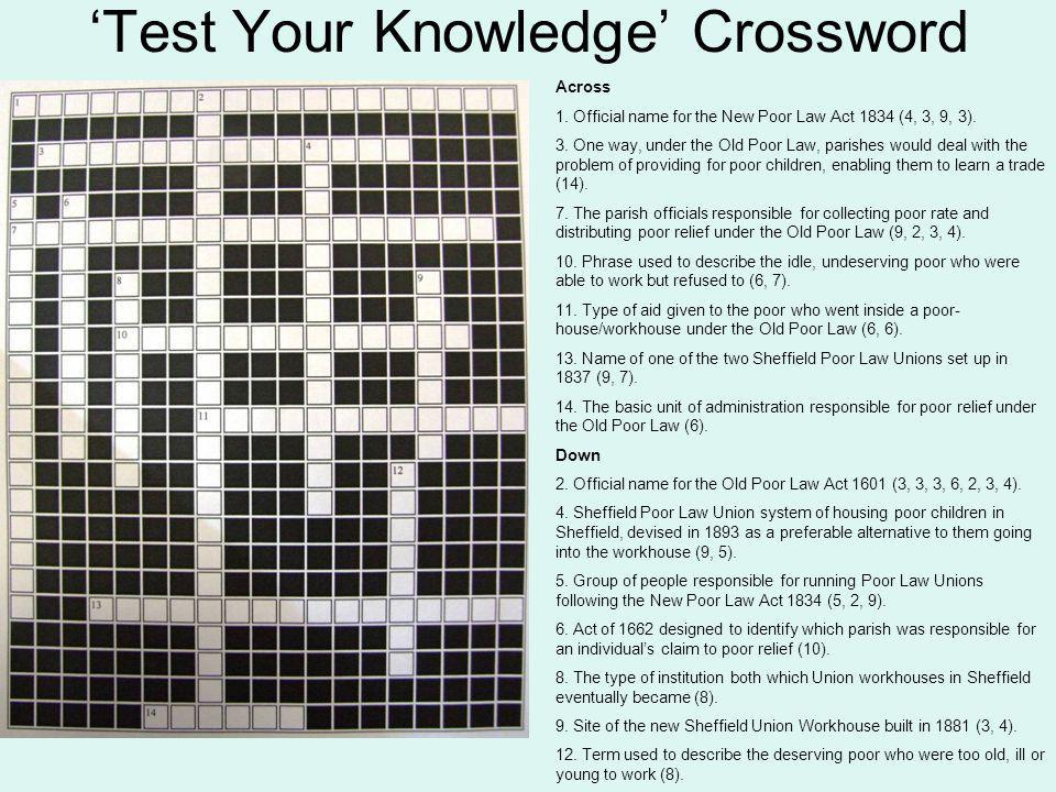 'Test Your Knowledge' Crossword