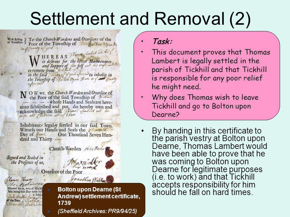 Settlement and Removal (2)