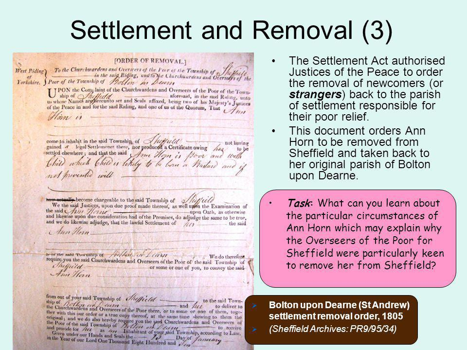 Settlement and Removal (3)
