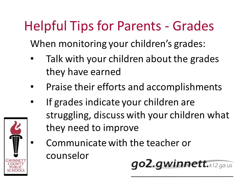 Helpful Tips for Parents - Grades