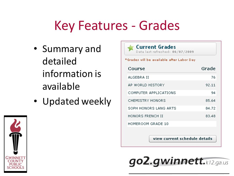 Key Features - Grades Summary and detailed information is available
