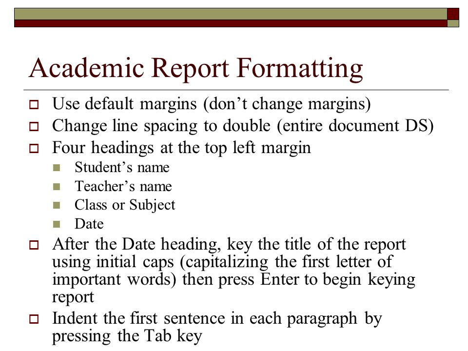 Academic Report Formatting