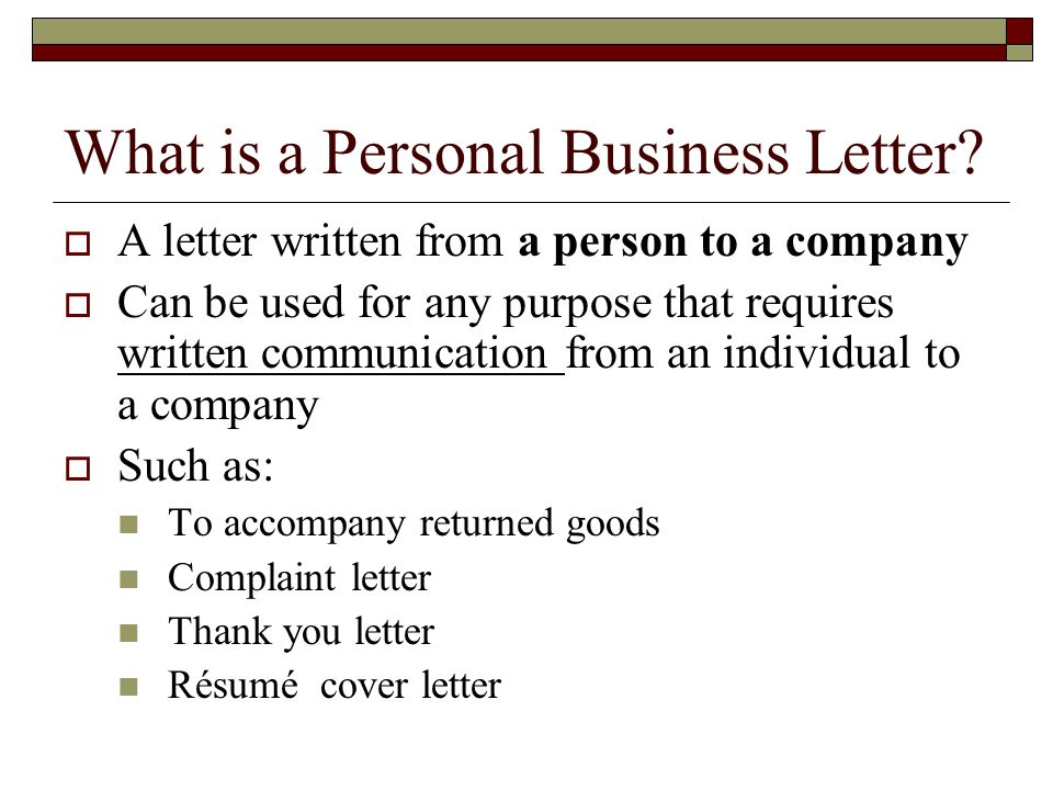 What is a Personal Business Letter