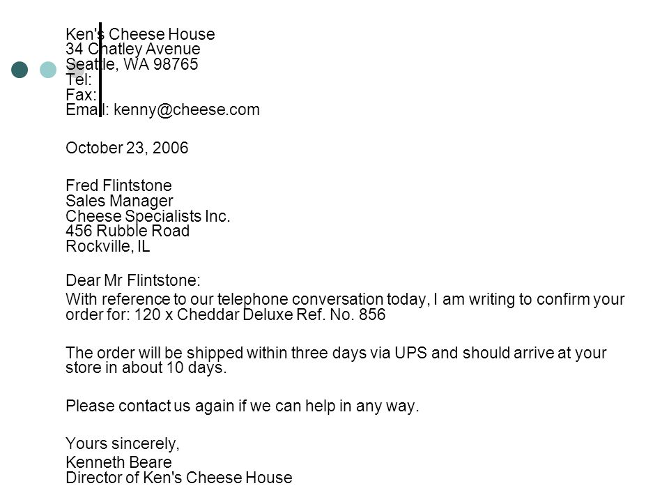 Ken s Cheese House 34 Chatley Avenue Seattle, WA Tel: Fax:   October 23,