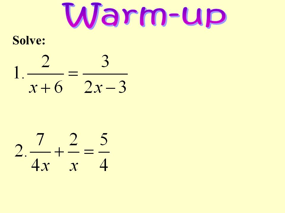 Warm-up Solve: