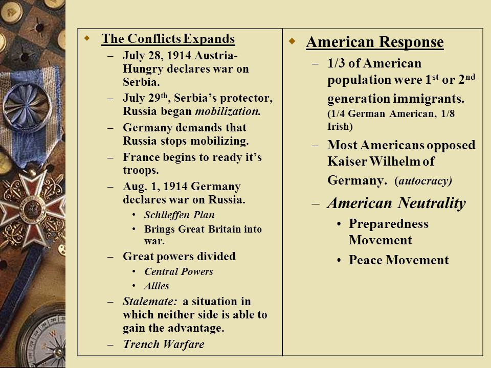 American Response American Neutrality The Conflicts Expands