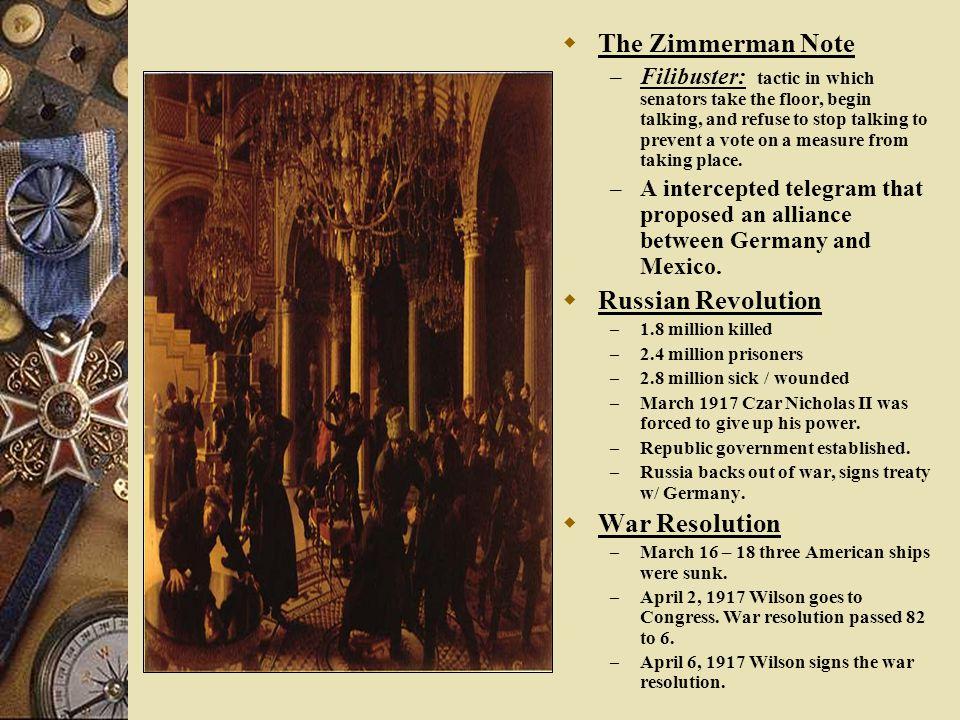 The Zimmerman Note Russian Revolution War Resolution