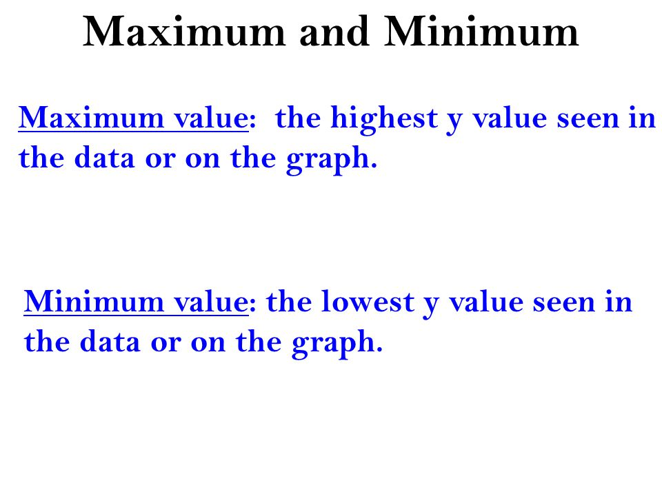 Maximum and Minimum Maximum value: the highest y value seen in the data or on the graph.