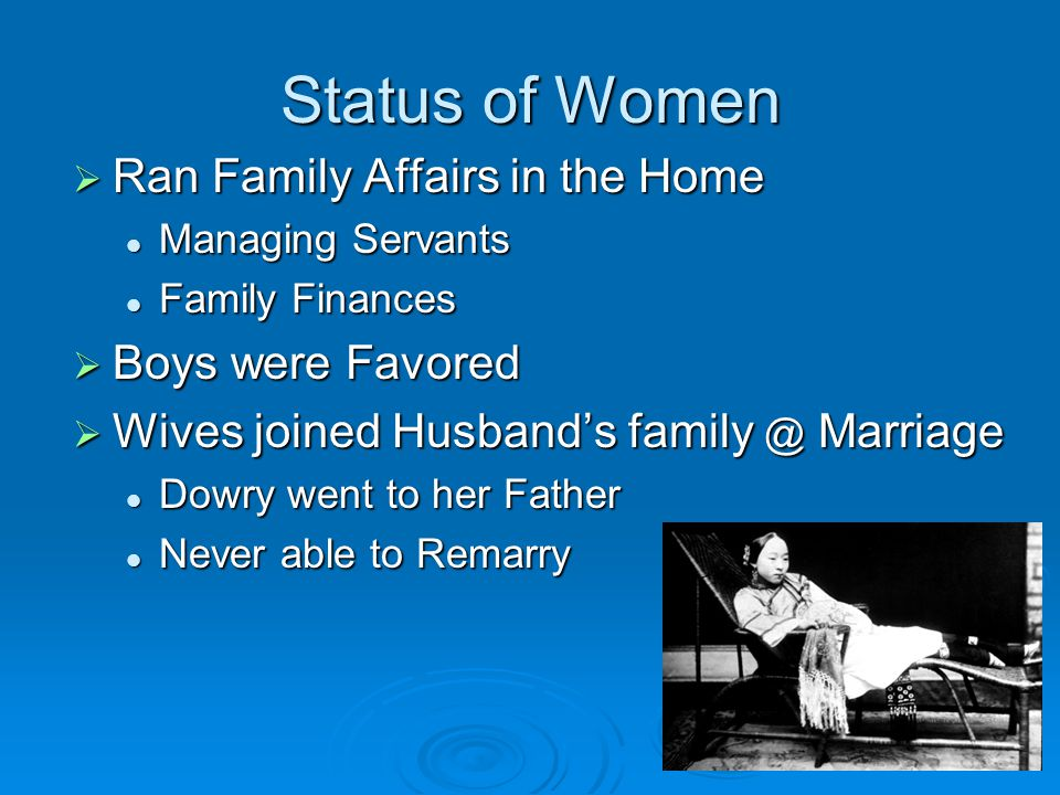 Status of Women Ran Family Affairs in the Home Boys were Favored