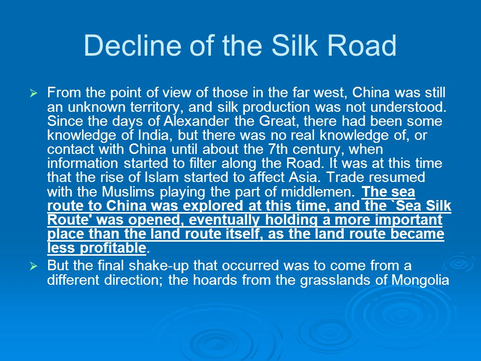 Decline of the Silk Road