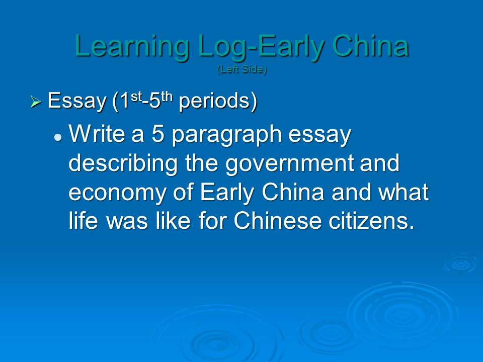 Learning Log-Early China (Left Side)