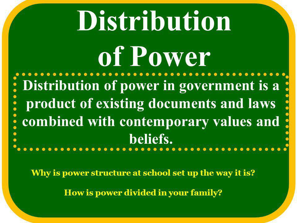 Distribution of Power Distribution of power in government is a product of existing documents and laws combined with contemporary values and beliefs.