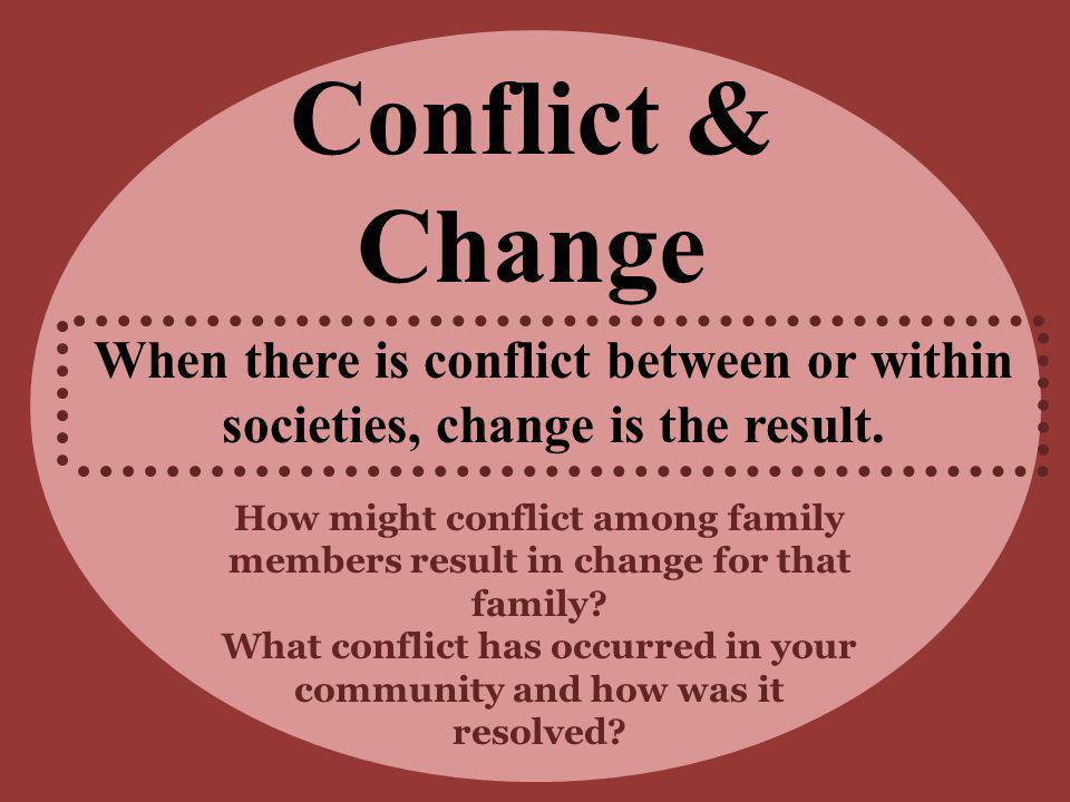 What conflict has occurred in your community and how was it resolved