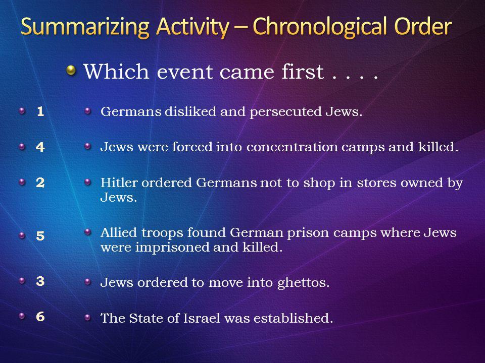 Summarizing Activity – Chronological Order