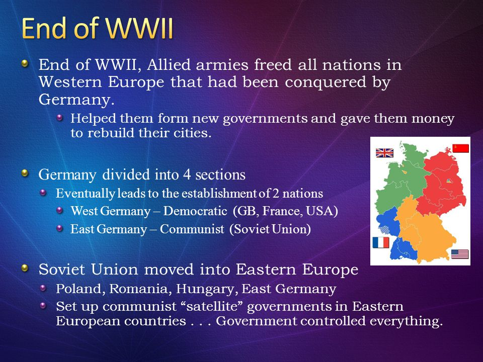 End of WWII End of WWII, Allied armies freed all nations in Western Europe that had been conquered by Germany.
