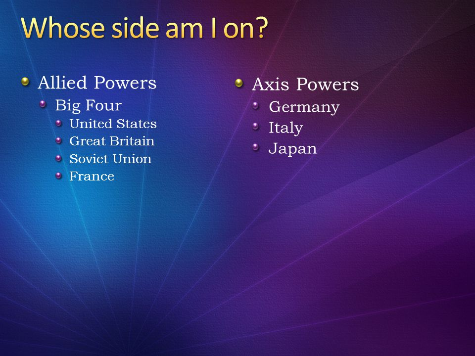 Whose side am I on Allied Powers Axis Powers Big Four Germany Italy