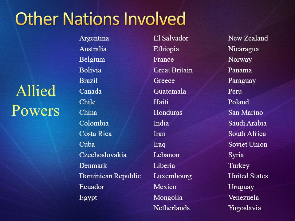 Other Nations Involved