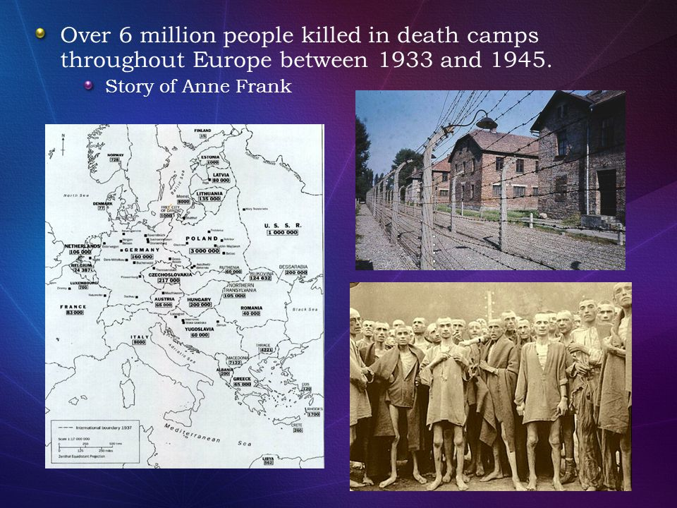 Over 6 million people killed in death camps throughout Europe between 1933 and 1945.