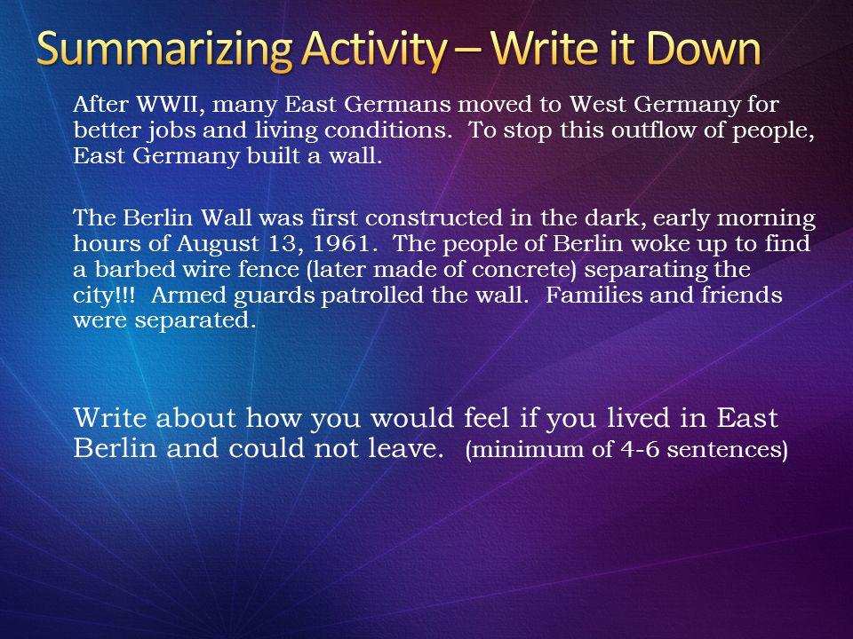 Summarizing Activity – Write it Down