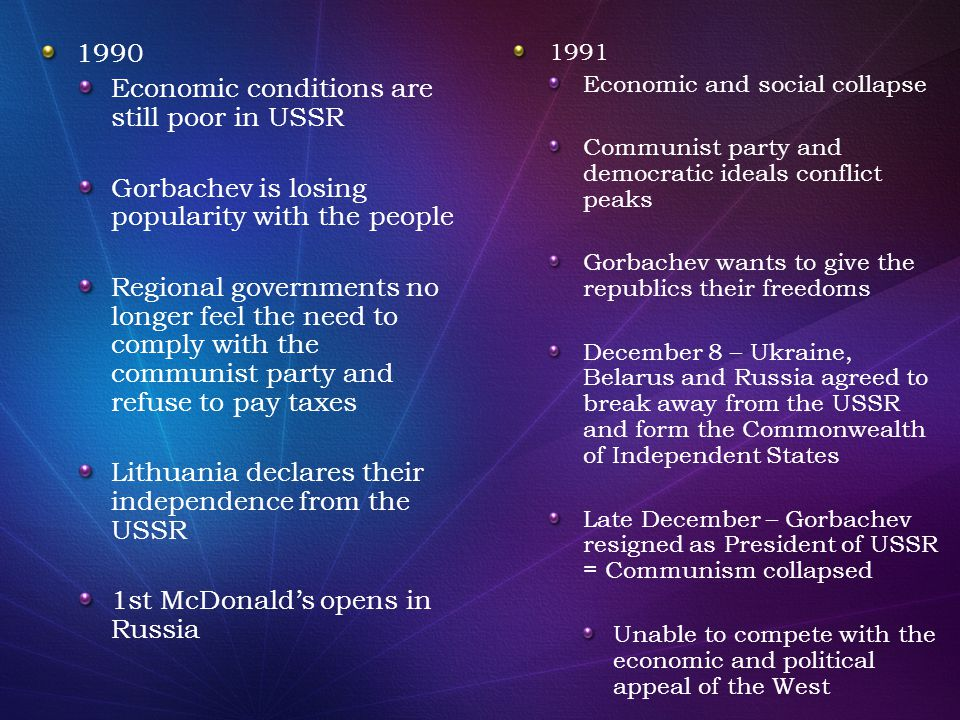 Economic conditions are still poor in USSR