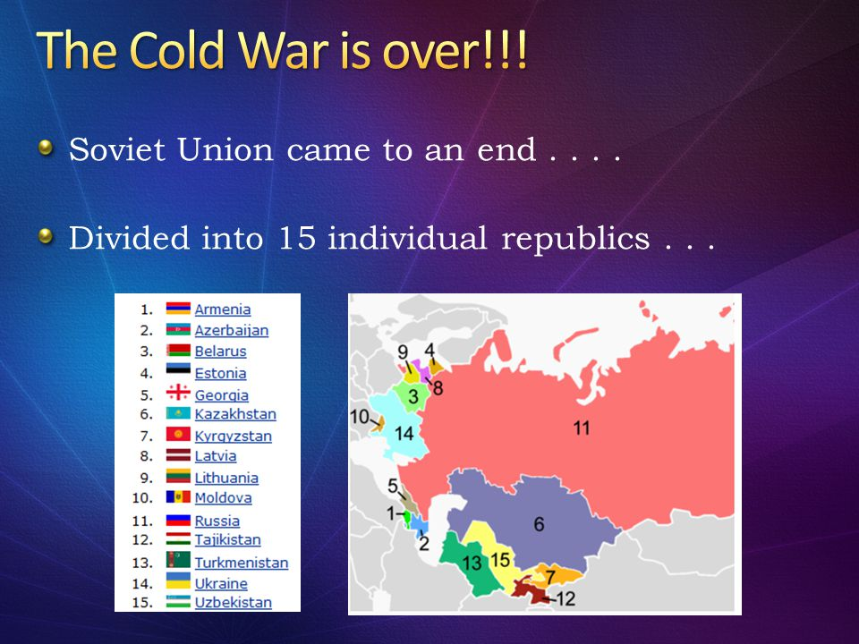 The Cold War is over!!! Soviet Union came to an end . . . .