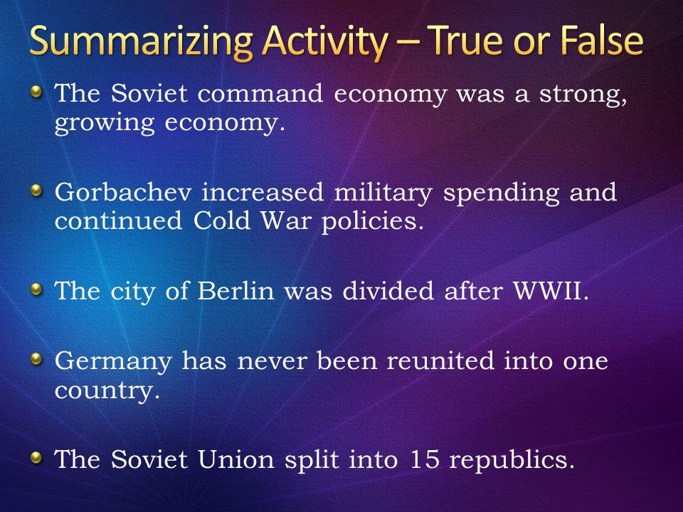 Summarizing Activity – True or False