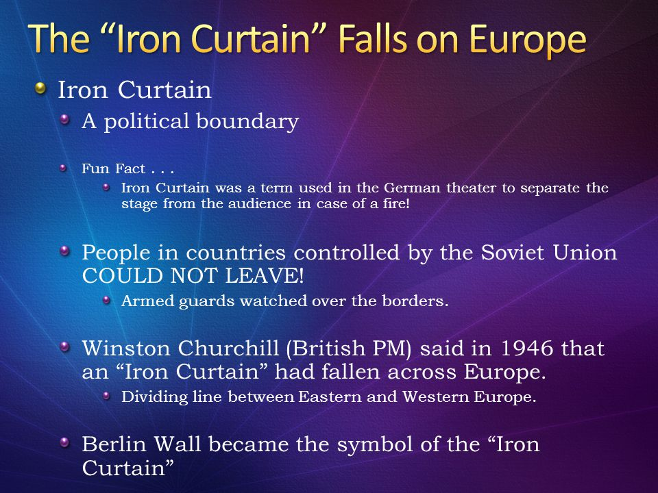The Iron Curtain Falls on Europe
