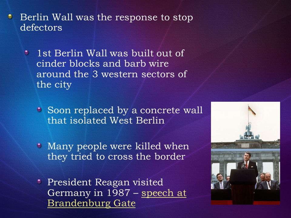 Berlin Wall was the response to stop defectors