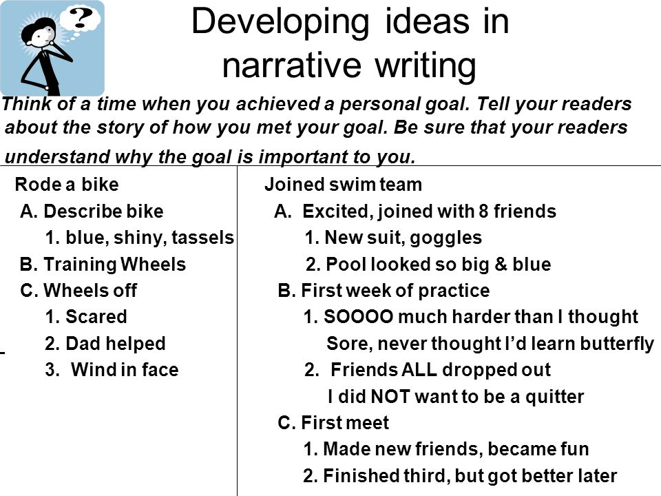 Developing ideas in narrative writing