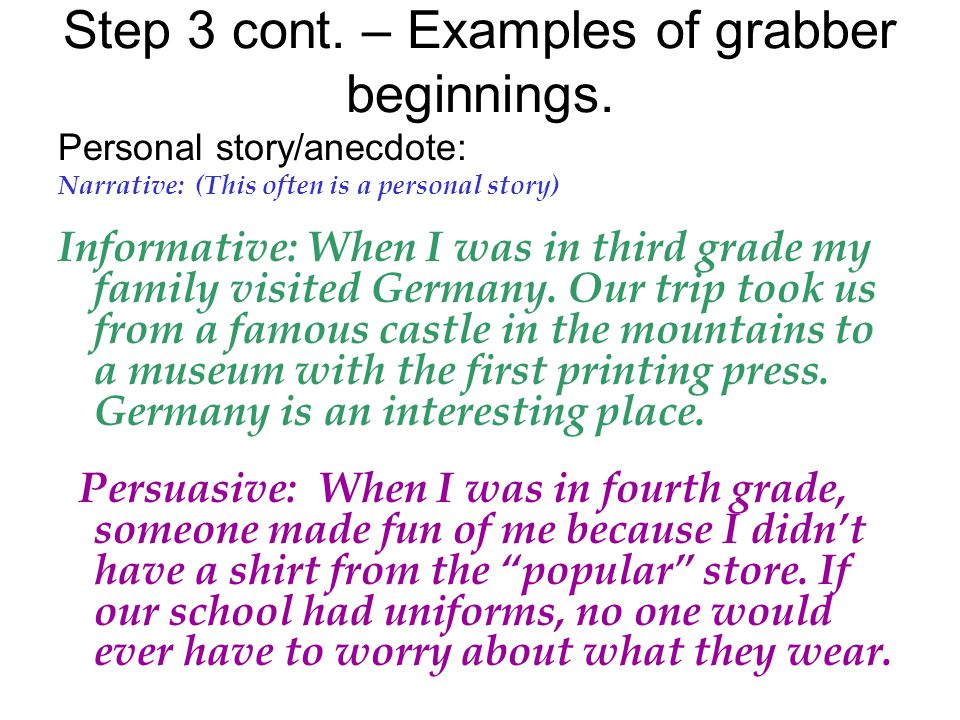 Step 3 cont. – Examples of grabber beginnings.