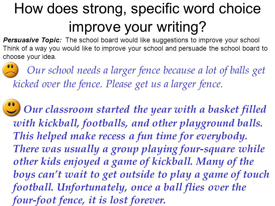 How does strong, specific word choice improve your writing