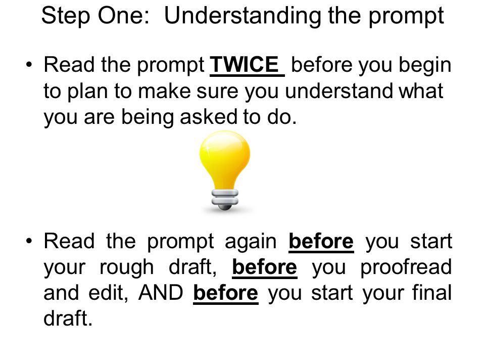 Step One: Understanding the prompt