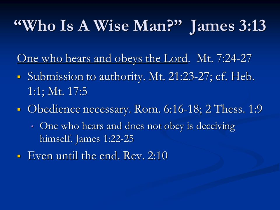 Who Is A Wise Man James 3:13