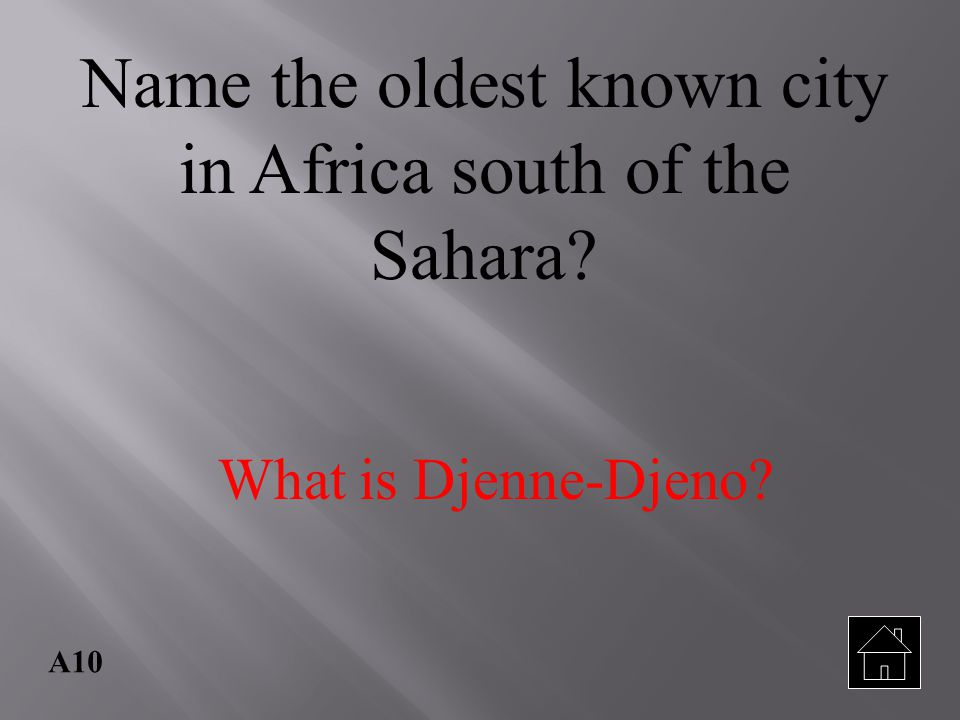 Name the oldest known city in Africa south of the Sahara